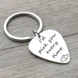 Key Rings Nickle Stainless Steel Accessory for Men Heart I'D Pick You Every Time Silver