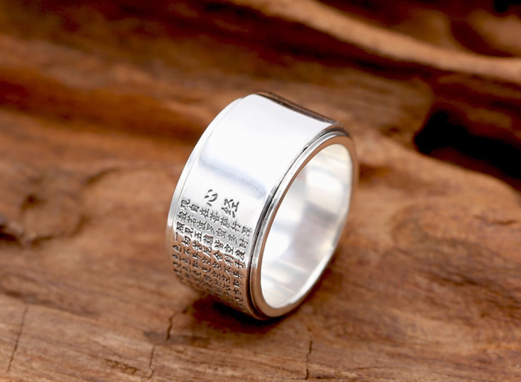 Engagement Ring for Men Sterling Silver Heart Sutra Silver