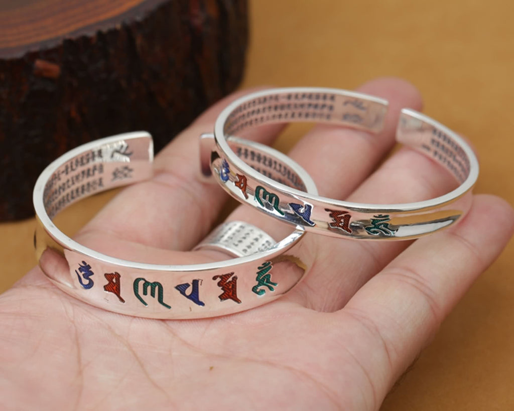 Bangle Sterling Silver Heart Sutra Six Word Mantra Memoirs Silver
