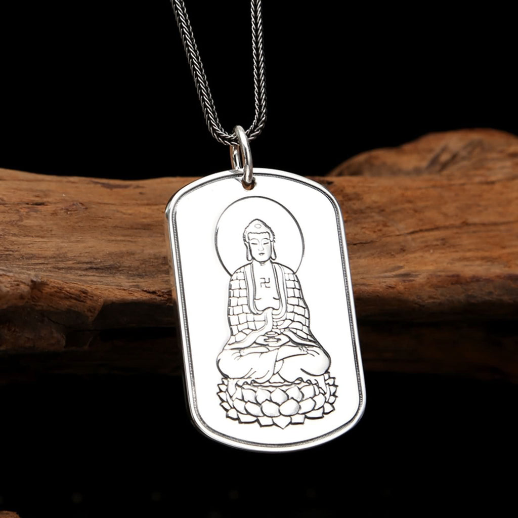 Necklace Pendant for Men Sterling Silver Avalokitesvara Silver