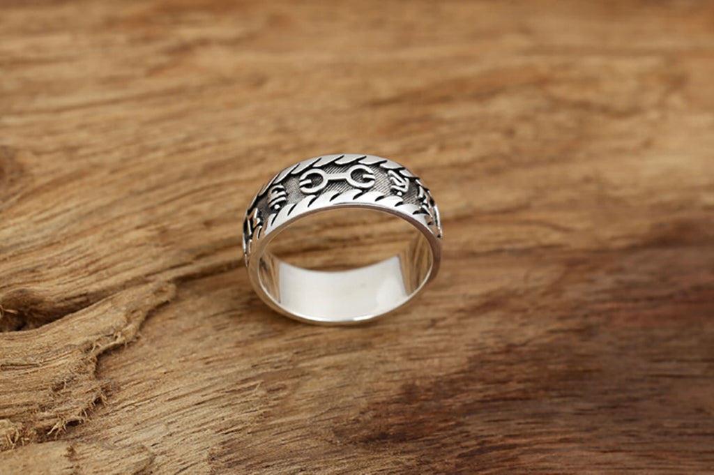 Men's Ring Sterling Silver Six Word Mantra Memoirs Silver