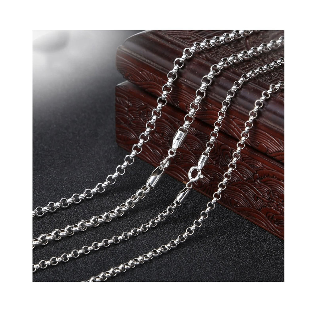 Pendant Necklace for Men Women Sterling Silver Round Chain Silver