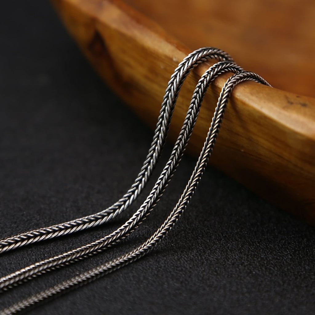 Men Women Necklace Sterling Silver Twist Chain Silver Black