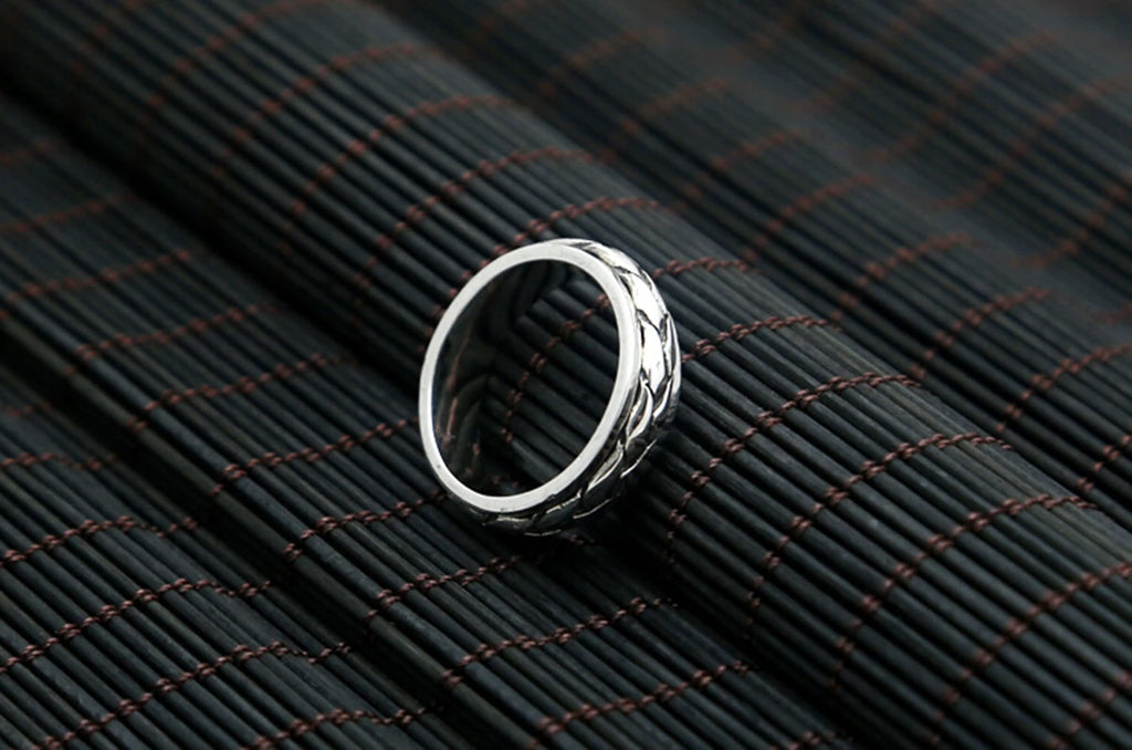 Anniversary Ring for Men Sterling Silver Round 0.6cm