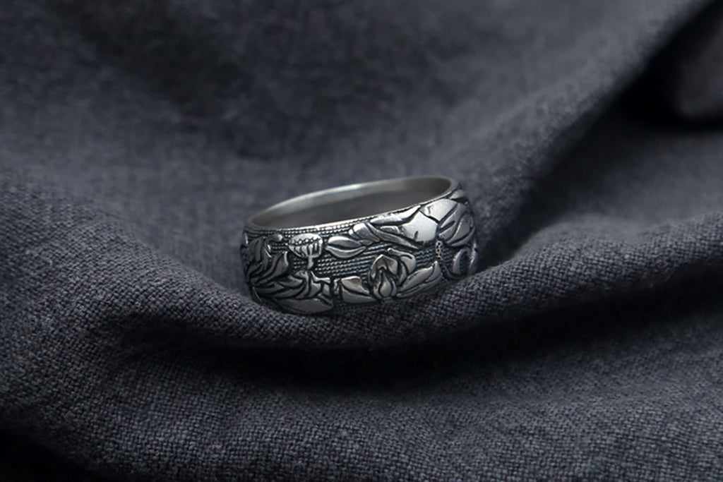 Anniversary Ring for Men Sterling Silver Lotus Wedding Bands