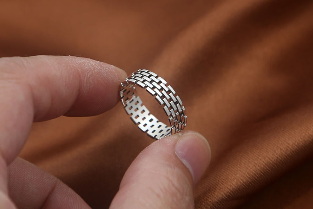 Thumb Ring for Men Sterling Silver Round Hollow Silver