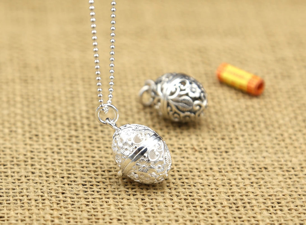 Pendant Necklace Sterling Silver Plum Blossom Hollow Gawu Box