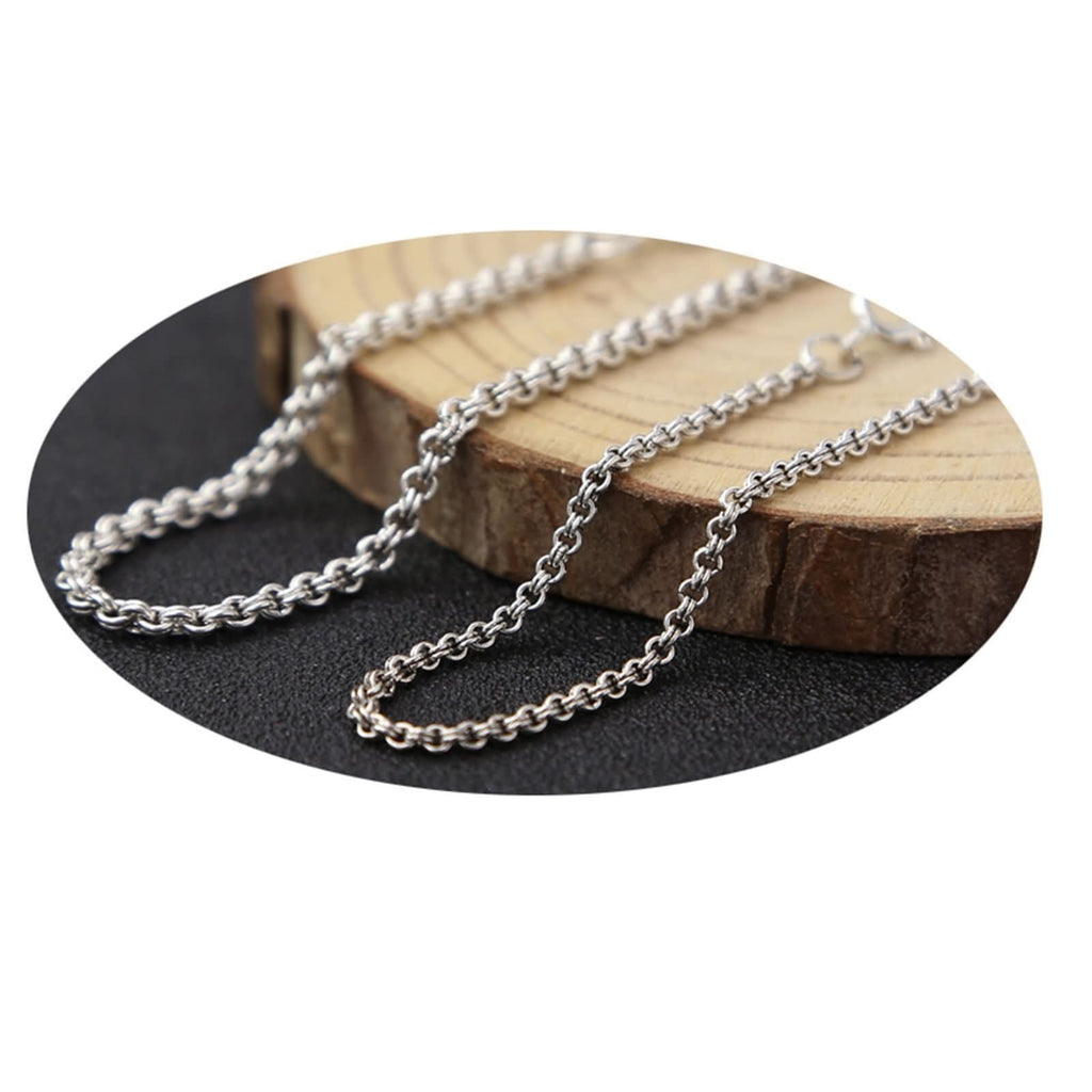 Necklace Jewelry for Men Women Sterling Silver Round Chain Silver