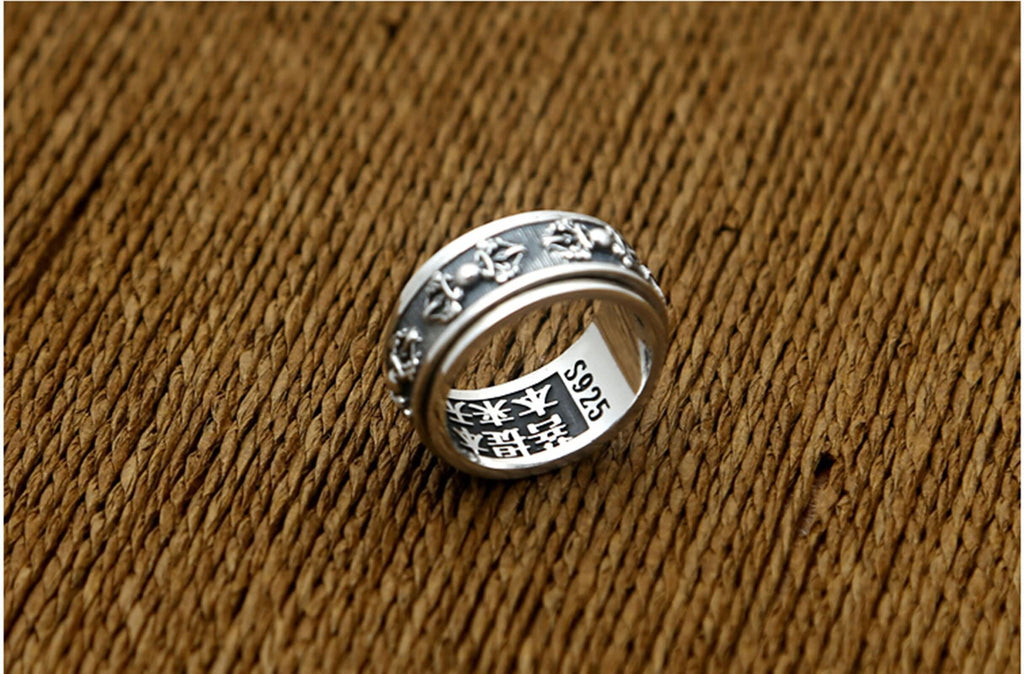 Signet Ring for Men Vintage Sterling Silver Vajra 1cm