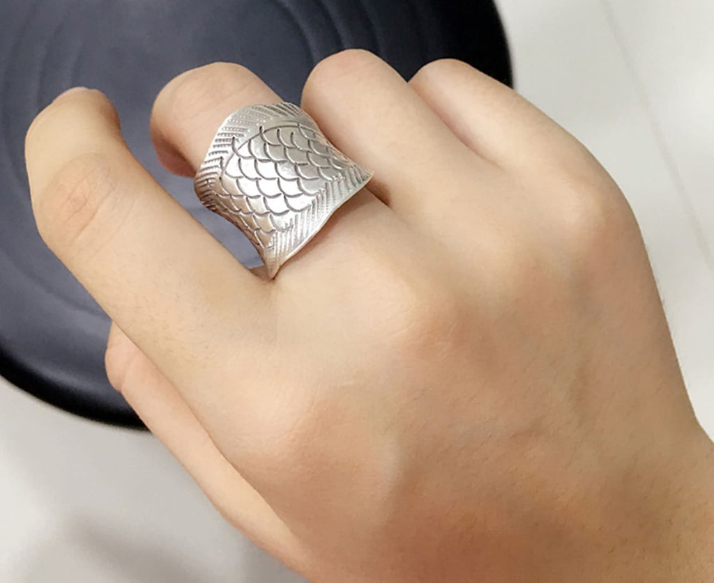 Ring for Men Women Sterling Silver Weaving Open Ring Silver