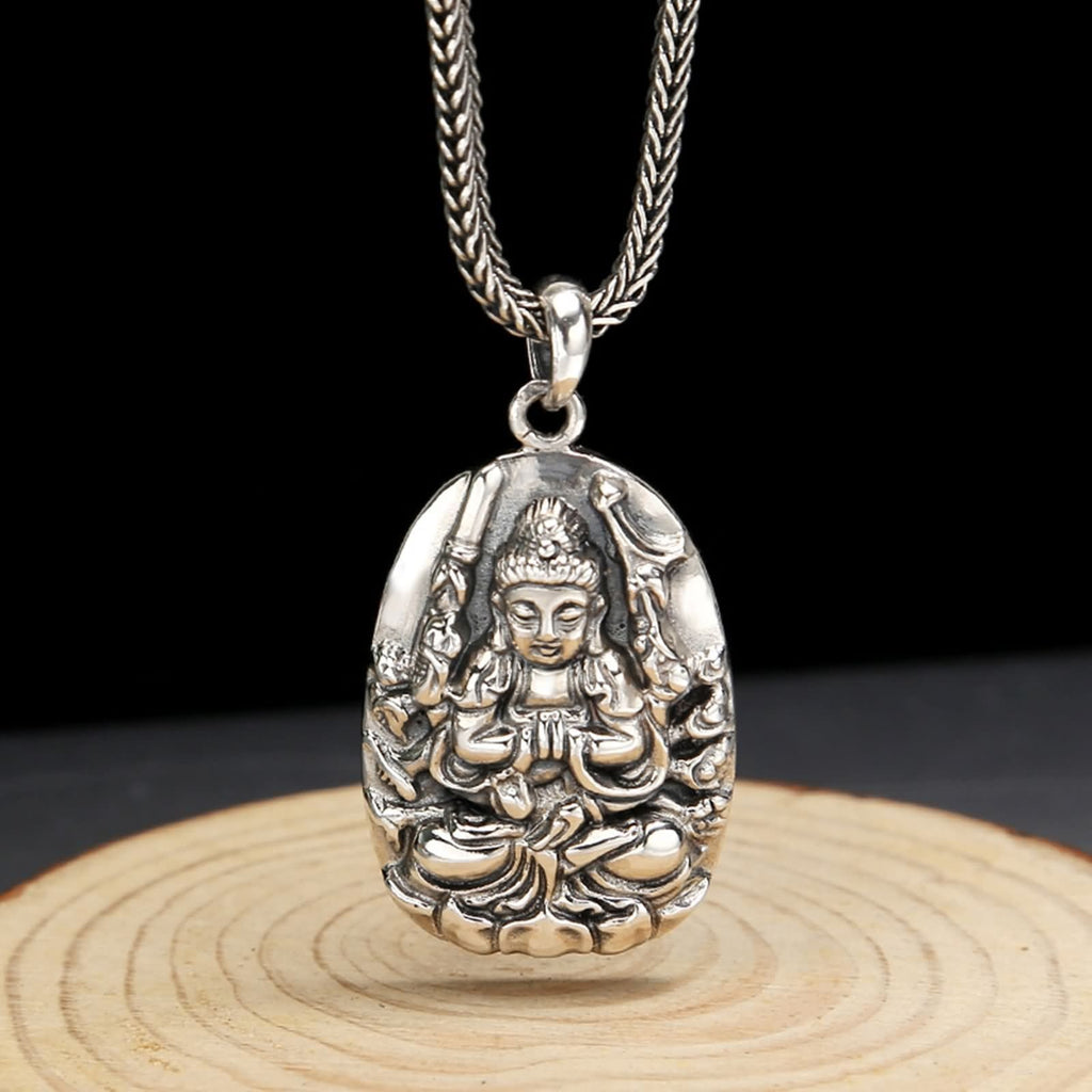 Necklace Pendant for Men Women Sterling Silver Buddha Silver