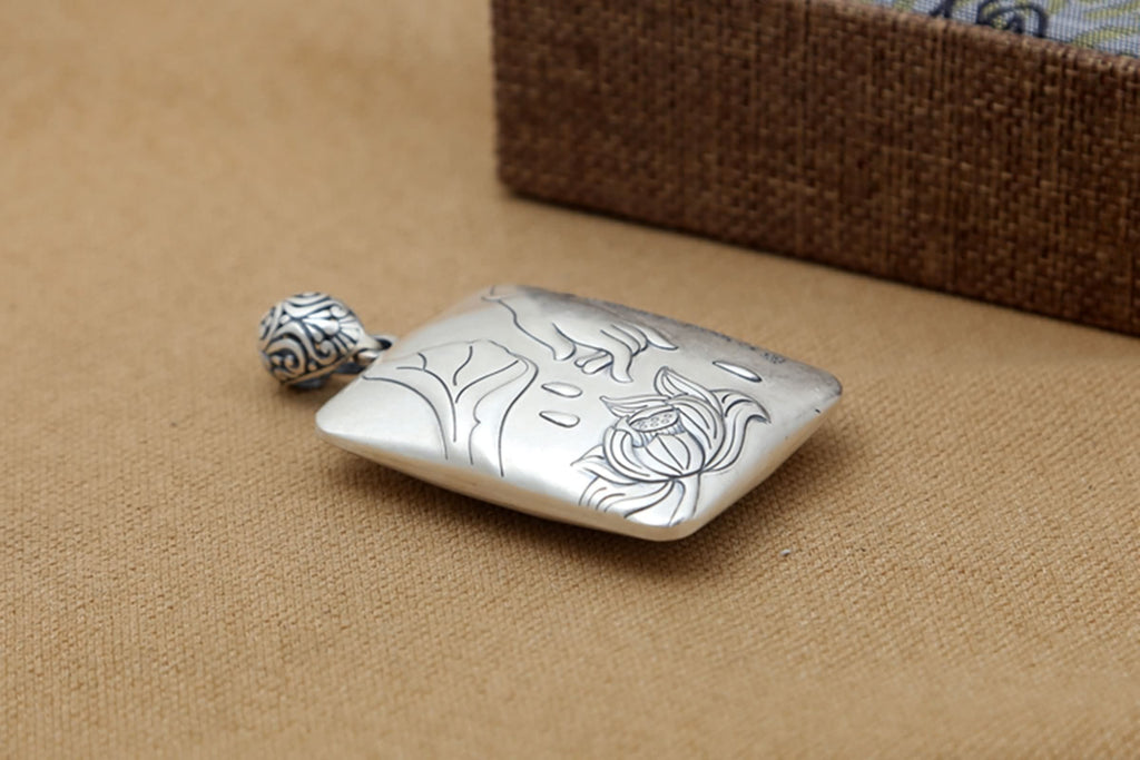 Women Pendant Necklace Sterling Silver Square Heart Lotus Silver