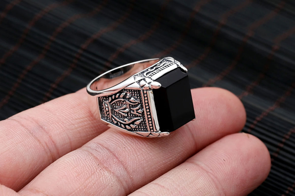Thumb Ring for Men Sterling Silver Black Agate Square Silver