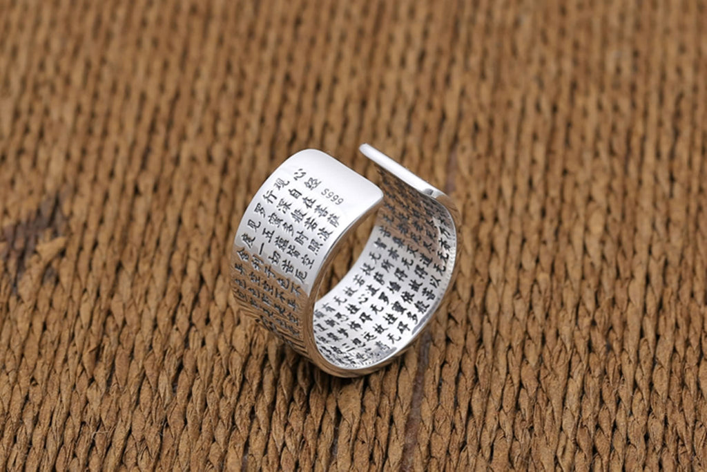 925 Sterling Silver Rings for Men Six Word Mantra Memoirs