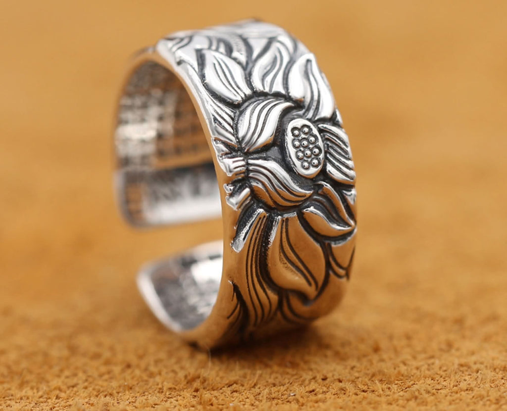 Ring for Women Sterling Silver Lotus Opening Ring Vintage