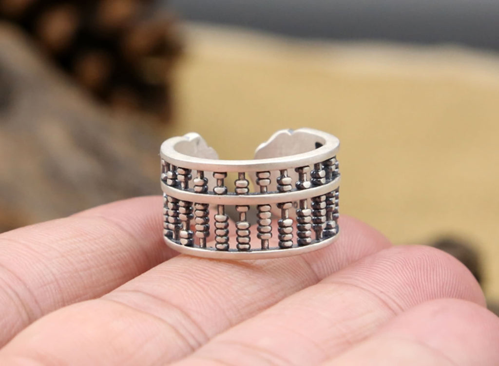 Men Anniversary Ring Sterling Silver Abacus 1.2cm