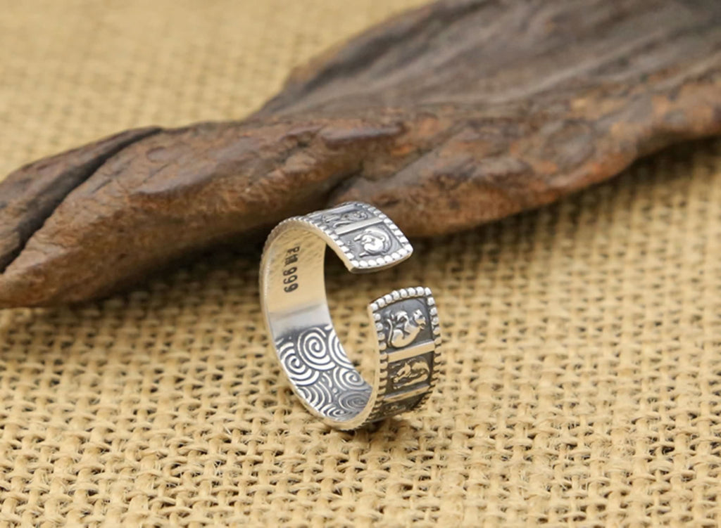 Thumb Ring for Men Sterling Silver Zodiac Signs Silver