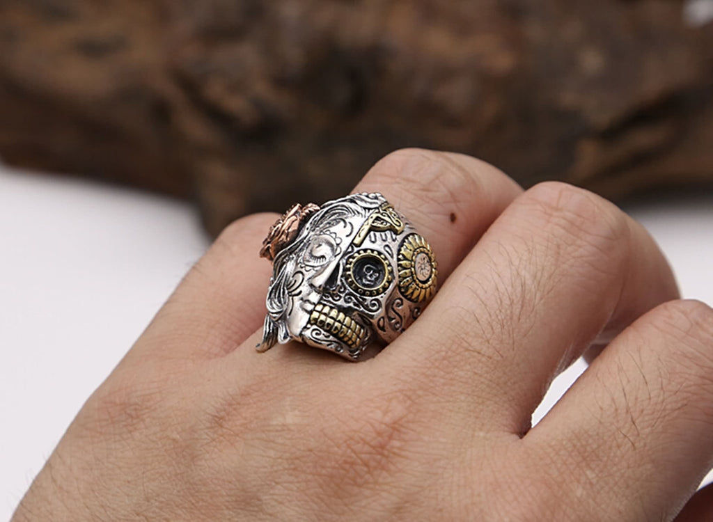 Thumb Ring for Men Sterling Silver Skull Flower Silver