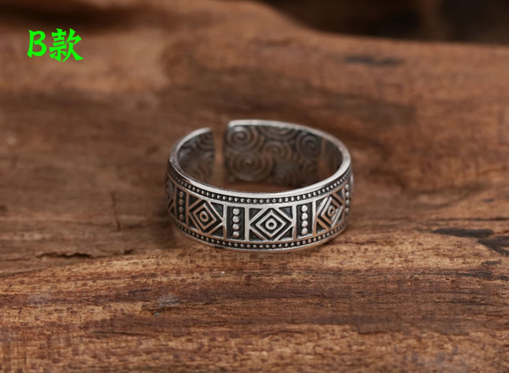 Engagement Ring for Men Women Sterling Silver Open Bands 1cm