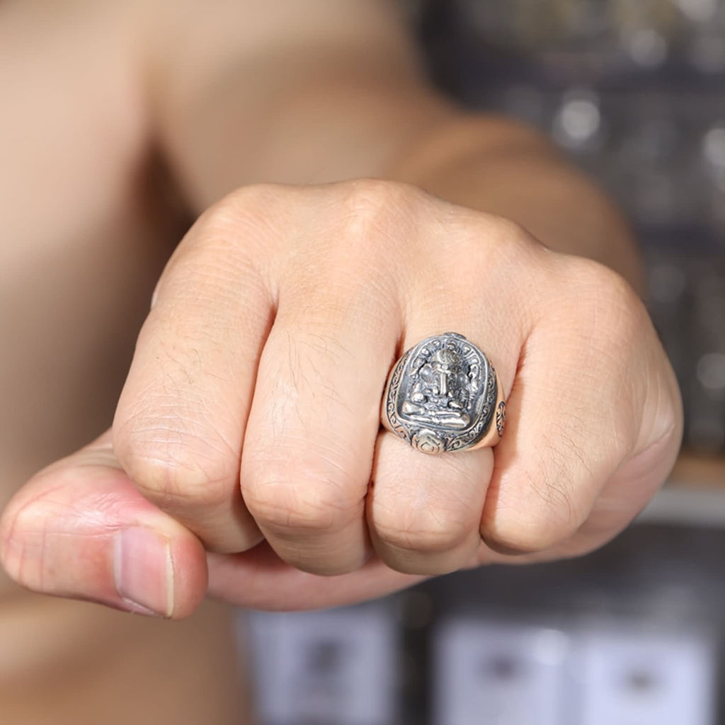 Thumb Ring for Men Sterling Silver Ganesha Silver