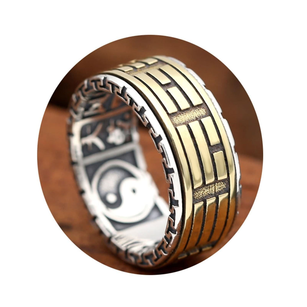 Wedding Ring for Men Sterling Silver Circle Tai Chi Retro Pattern