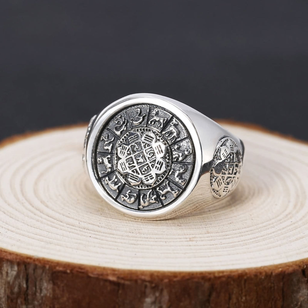 Signet Ring for Men Thumb Bands Sterling Silver Eight Diagrams