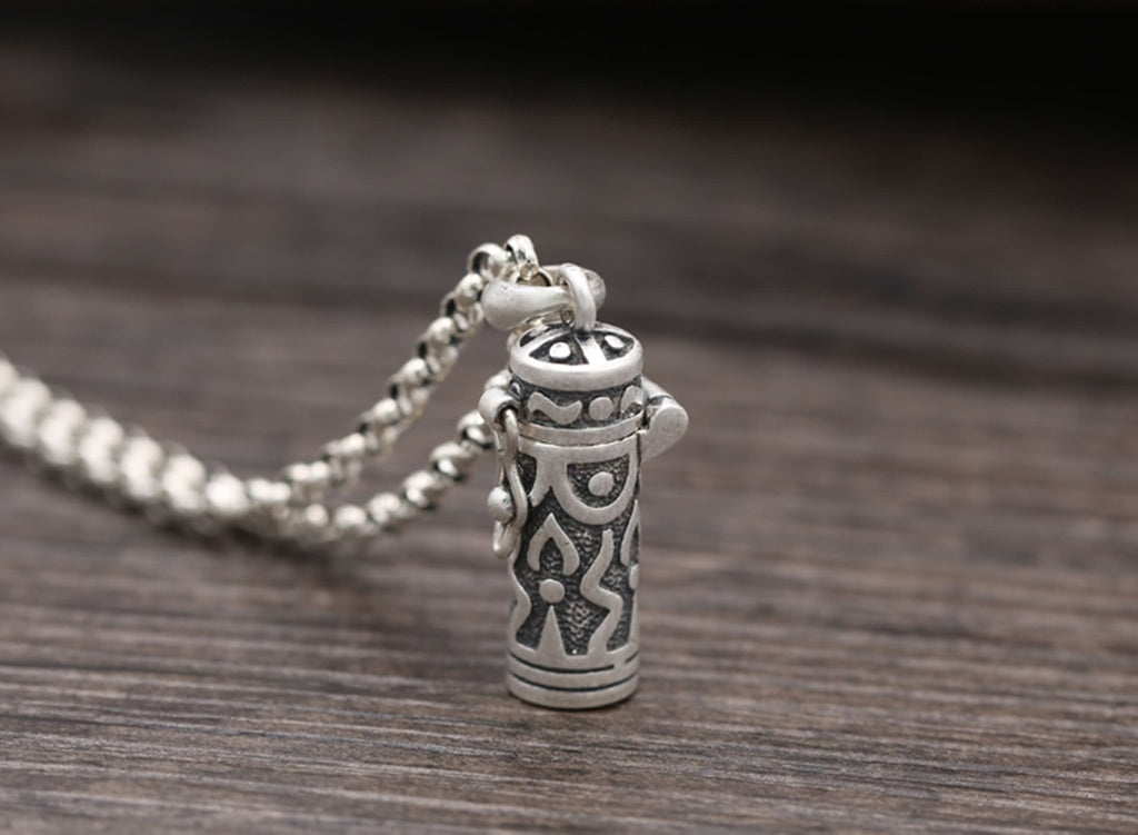 Pendant Necklace for Men Sterling Silver Vintage Mantra Silver