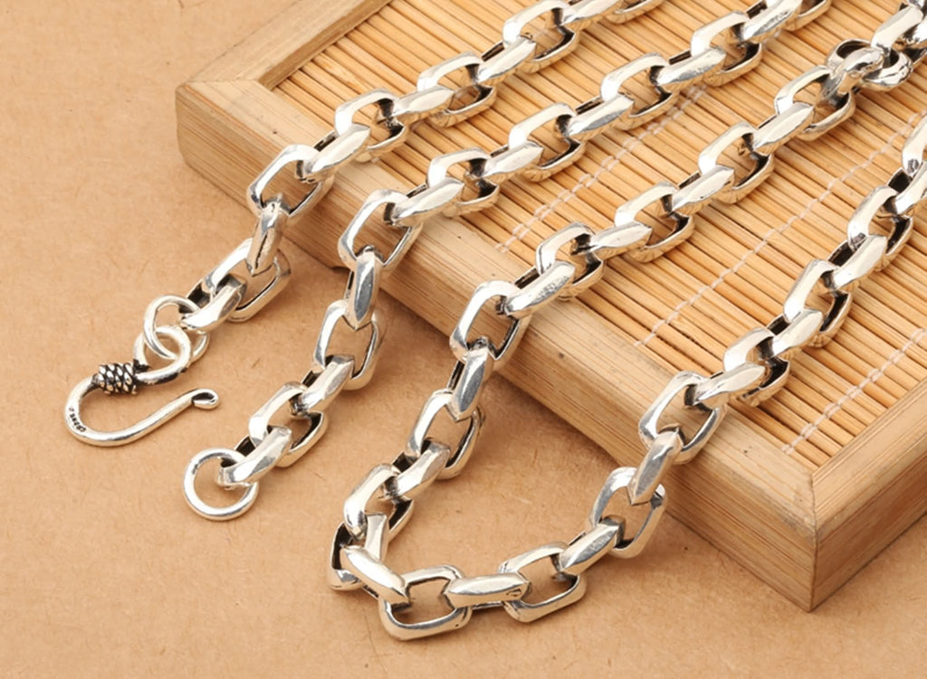 Chain Necklace for Men Sterling Silver Round Chain Silver