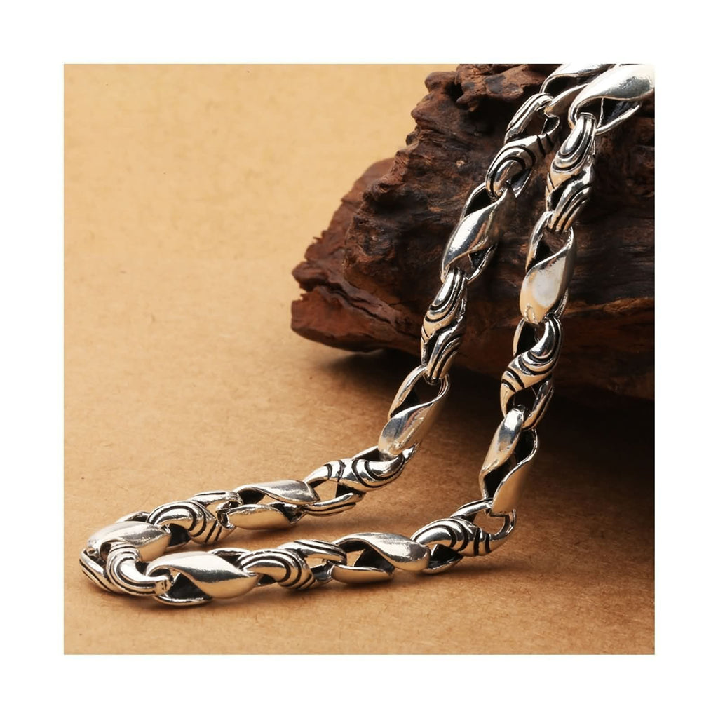 Pendant Necklace for Men Sterling Silver Twist Chain Silver Black