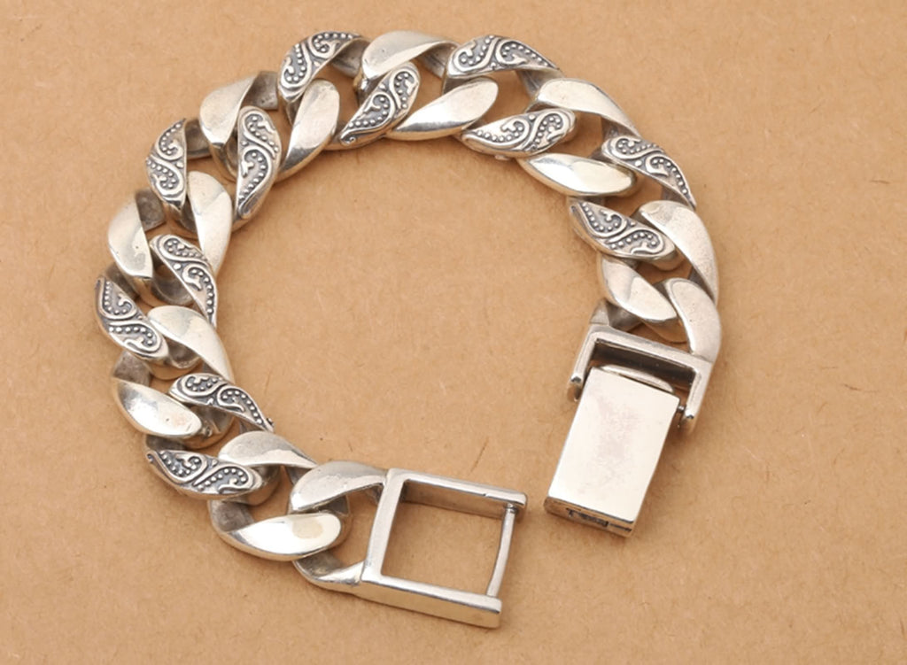 Bangle Bracelet for Men Sterling Silver Curb Chain Silver 20x1.6cm