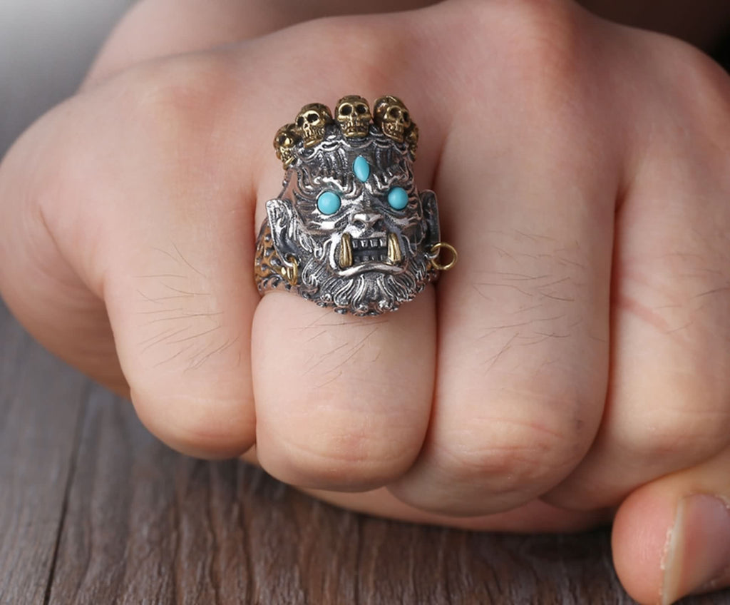 Engagement Ring for Men Sterling Silver God of Wealth Silver