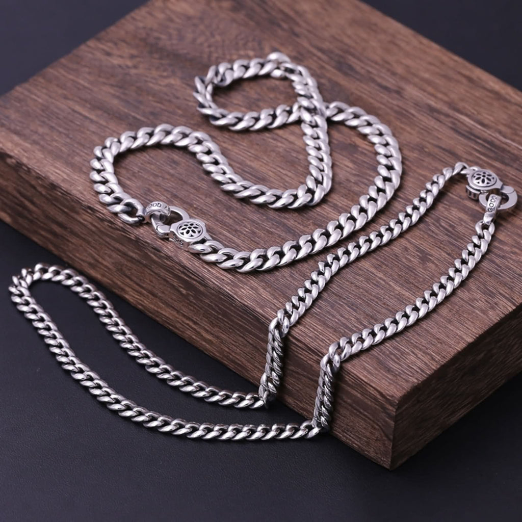Men Women Pendant Necklace Sterling Silver Twist Chain Silver