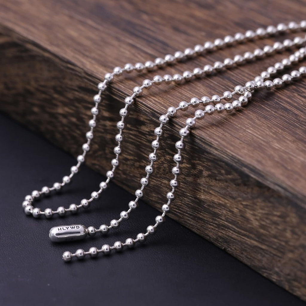 Necklace for Men Women Sterling Silver Buddha Beads Chain Silver
