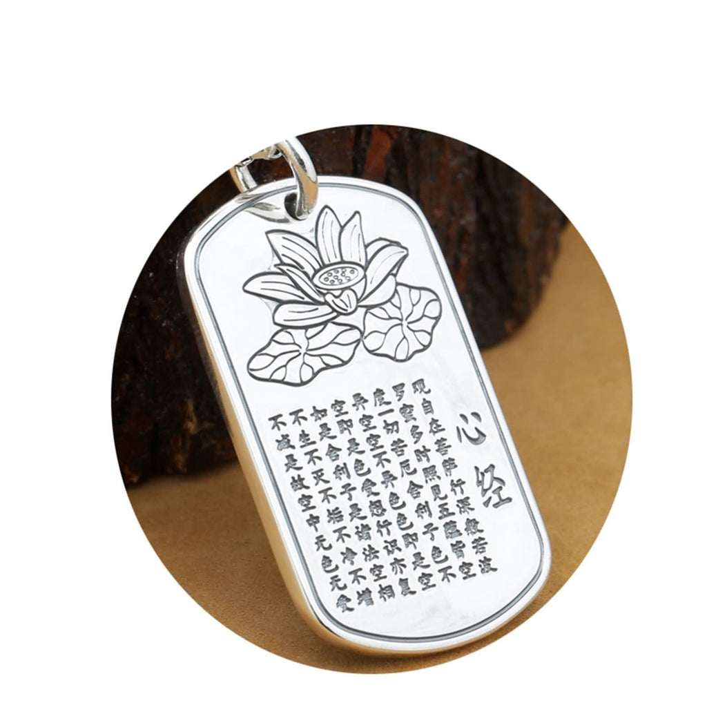 Pendant Necklace for Men Sterling Silver Buddha Silver 4x2.5cm