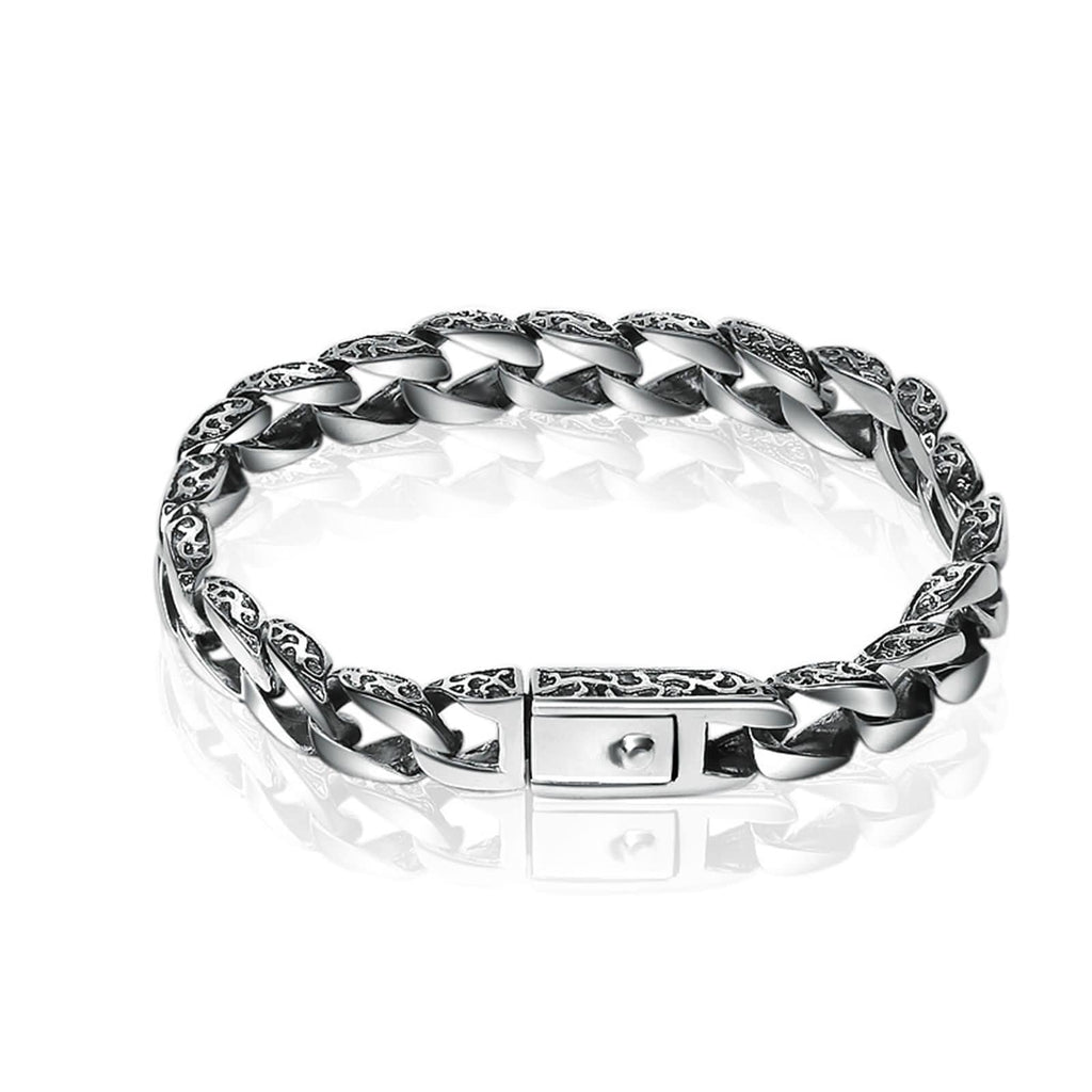 Men Charm Bracelet Sterling Silver Curb Chain Silver Personalized