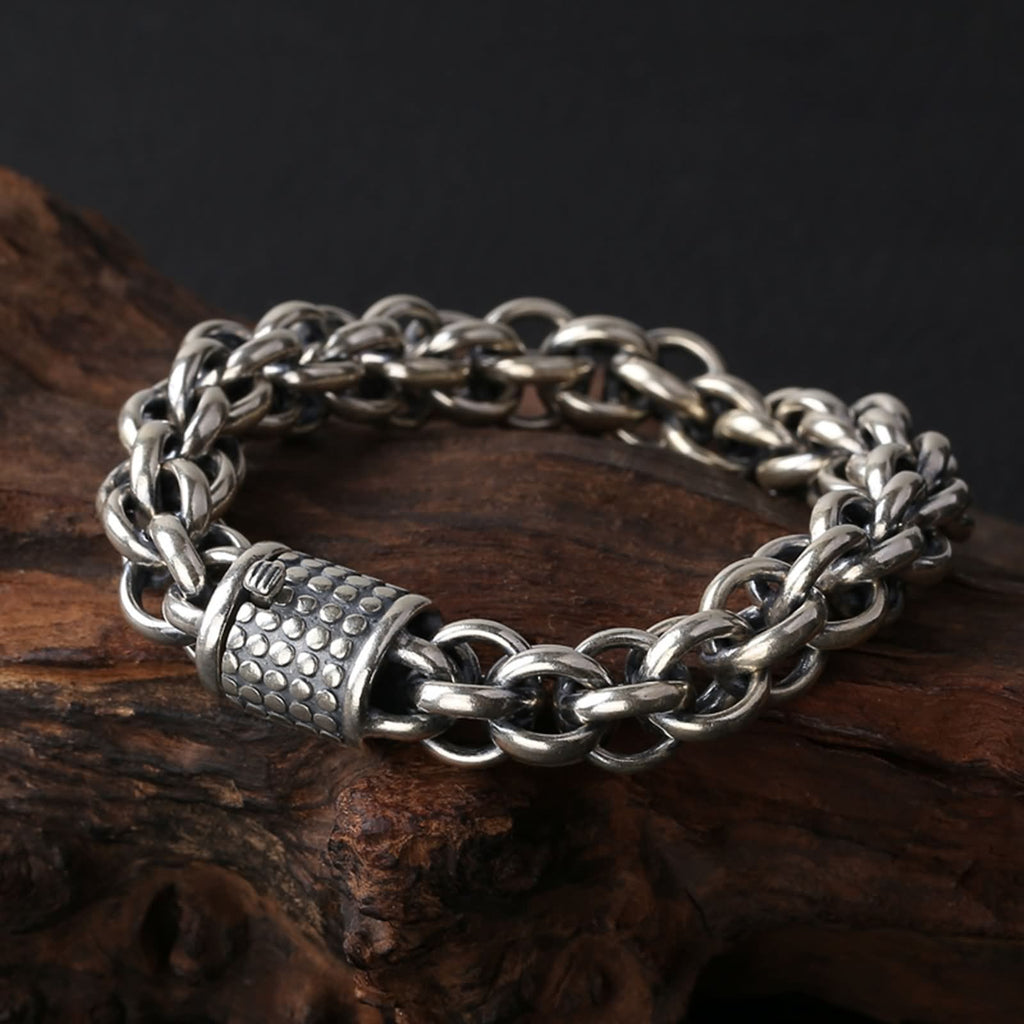 Charm Bracelet for Men Sterling Silver Curb Chain Silver for Him