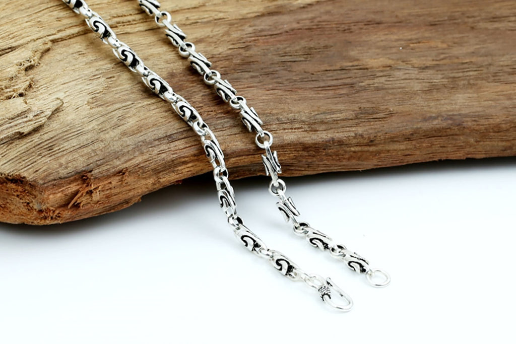 Necklace for Men Women Sterling Silver Twist Chain Silver