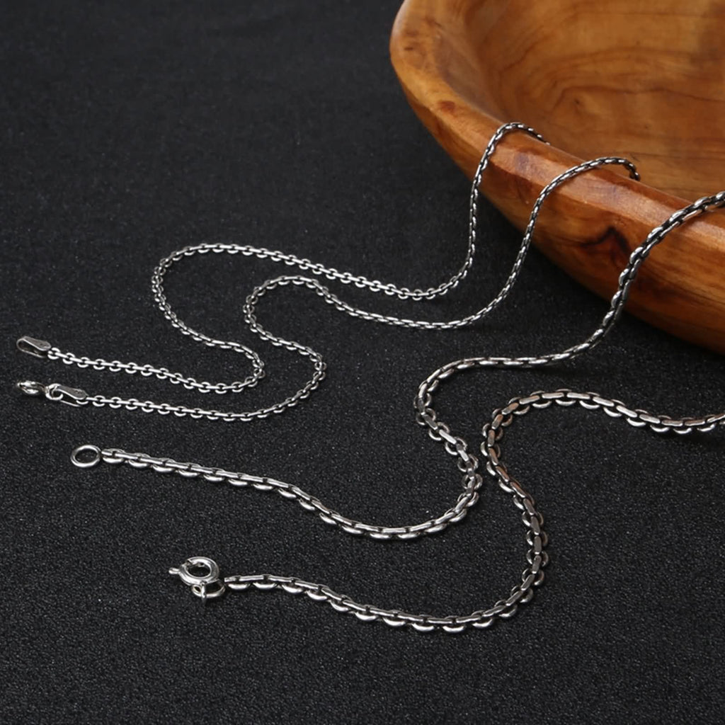 Pendant Necklace for Men Women Sterling Silver Twist Chain Silver