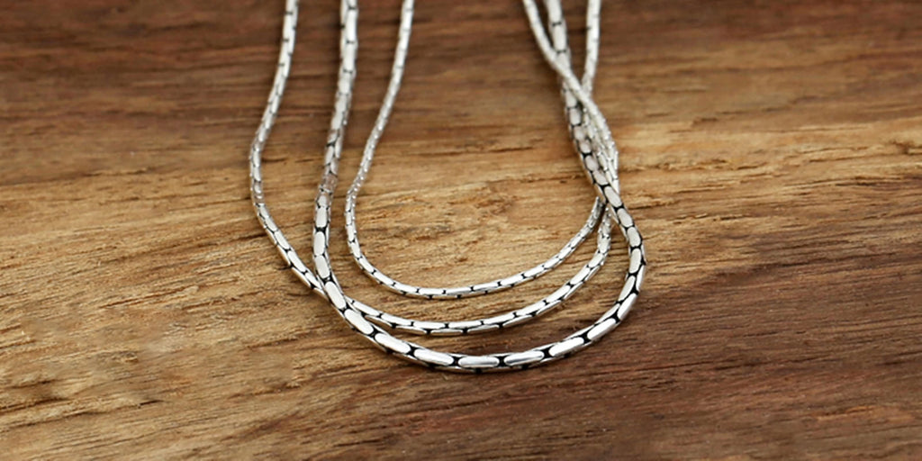 Pendant Necklace for Men Women Sterling Silver Snake Chain Silver