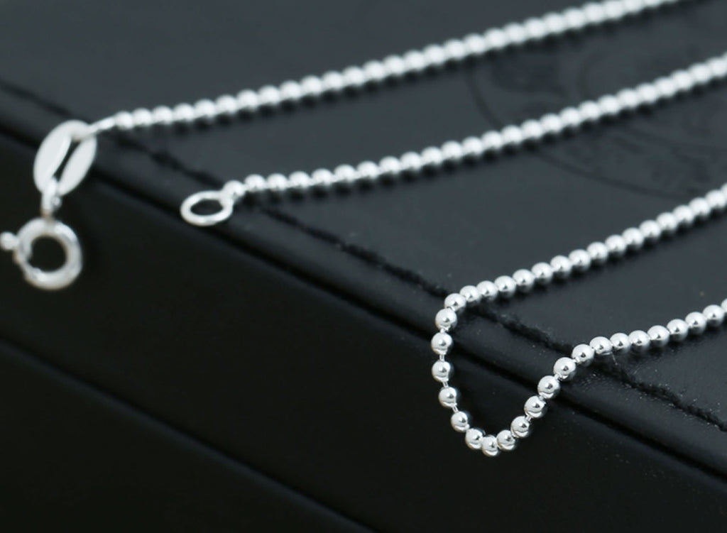 Necklace for Men Women Sterling Silver Round Bead Chain Silver