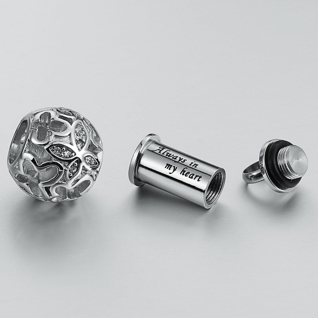 Cremation Ashes Necklace Pendant Stainless Steel Silver Ball 1.5 x 2.5cm
