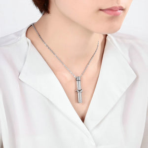 Cremation Ashes Necklace Pendant Stainless Steel Silver Cylinder Engravable