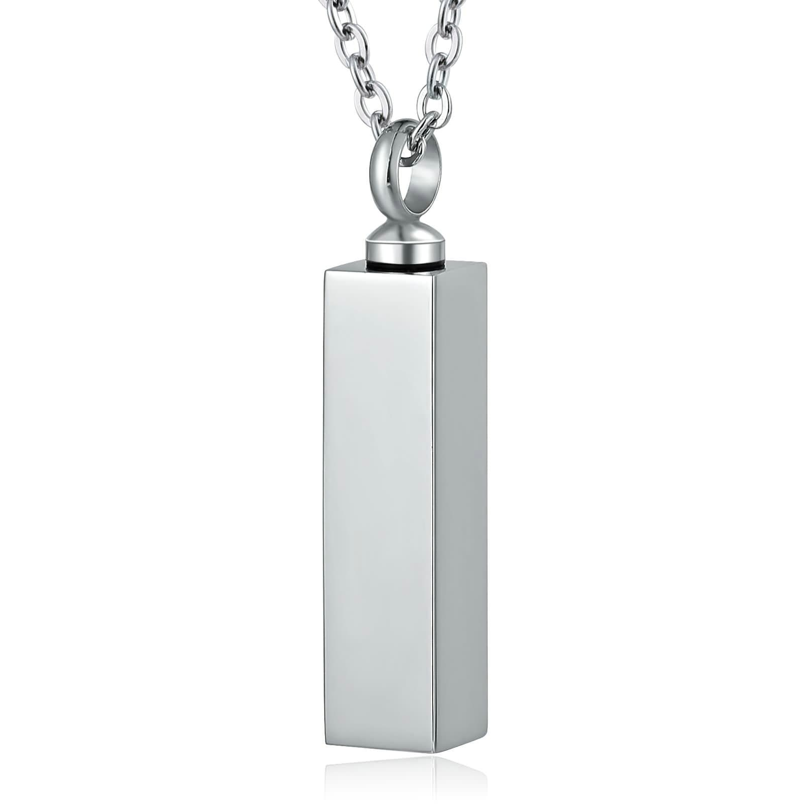 Urn Necklace Cremation Necklace Stainless Steel Black Rectangle Engravable