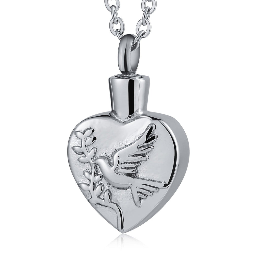 Cremation Ashes Necklace Pendant Stainless Steel Heart Engravable 1.8 x 3cm