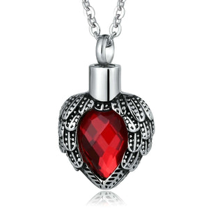 Cremation Pendant Ashes Necklace Stainless Steel Red Heart Engravable
