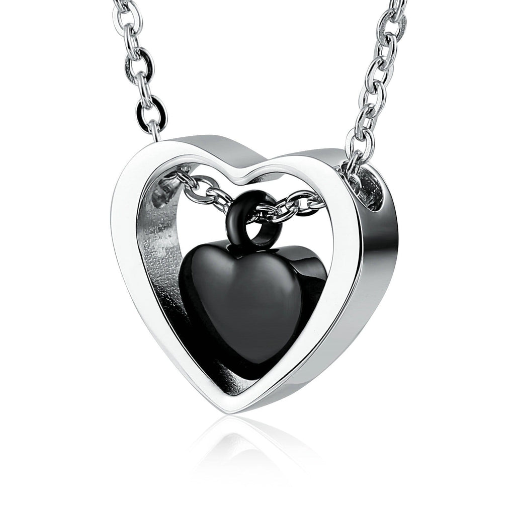 Urn Pendant Cremation Necklace Women Stainless Steel Black Heart