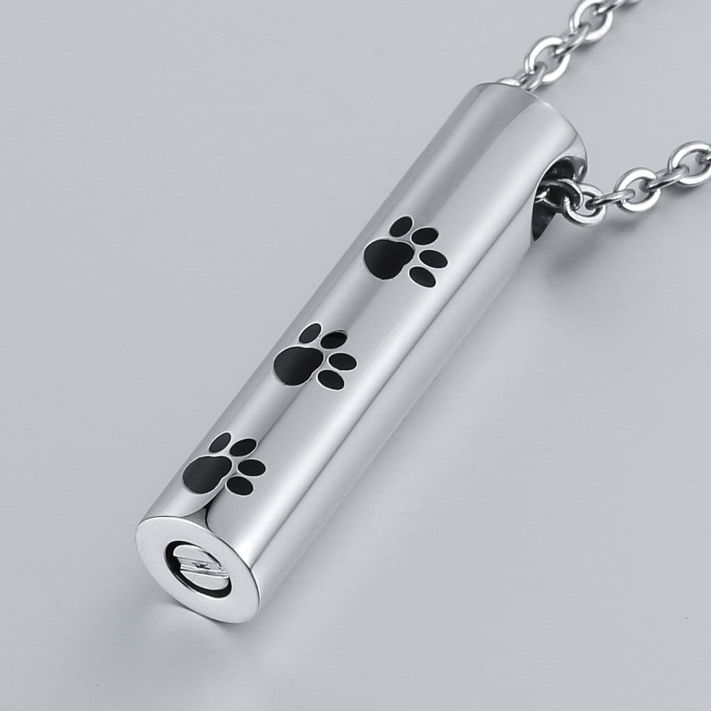 Cremation Ashes Necklace Pendant Stainless Steel Cylinder 0.8 x 3.5cm
