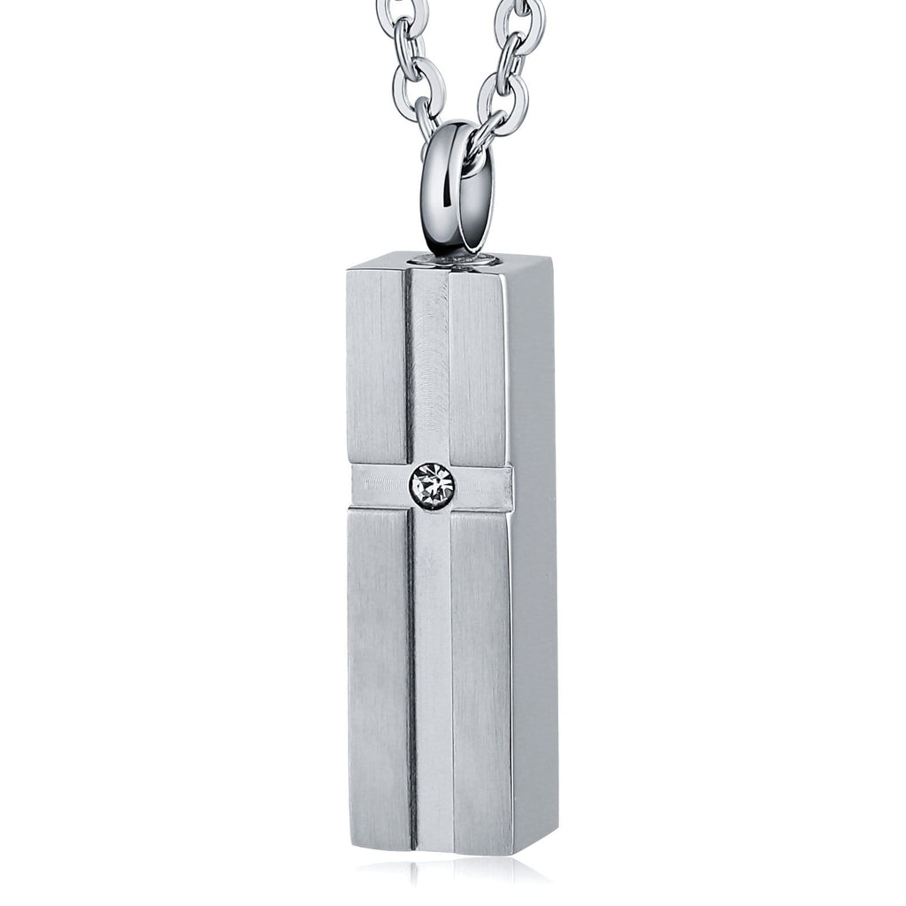 Cremation Ashes Necklace Pendant Stainless Steel Rectangle 0.8x3.3cm