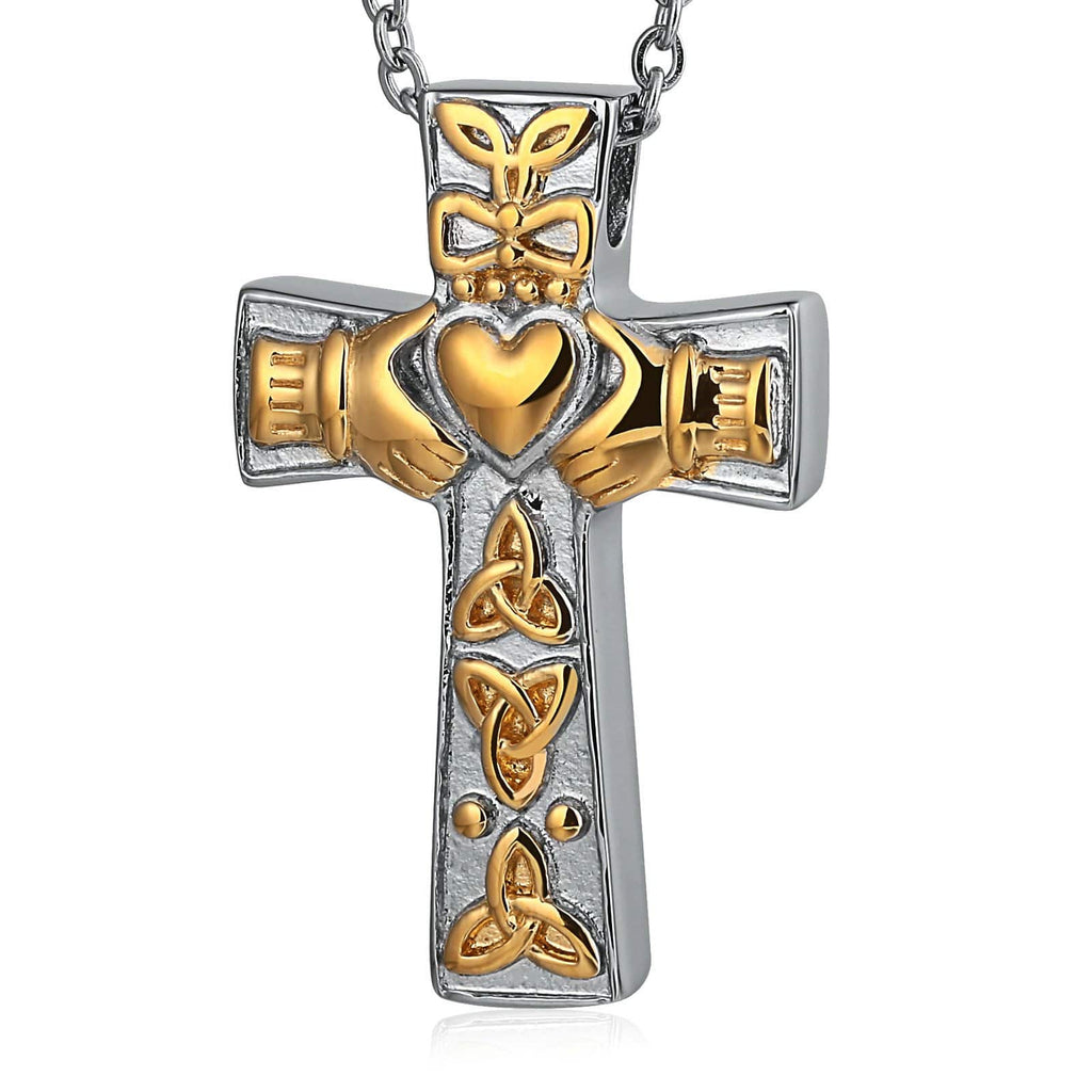 Cremation Ashes Necklace Pendant Stainless Steel Gold Cross Engravable