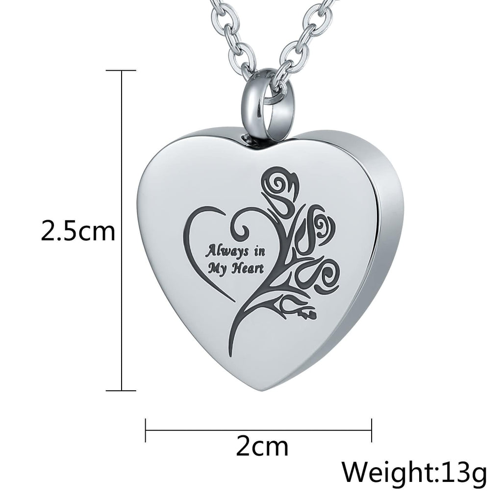 Urn Necklace Cremation Pendant Stainless Steel Heart Engraving 2 x 2.5cm